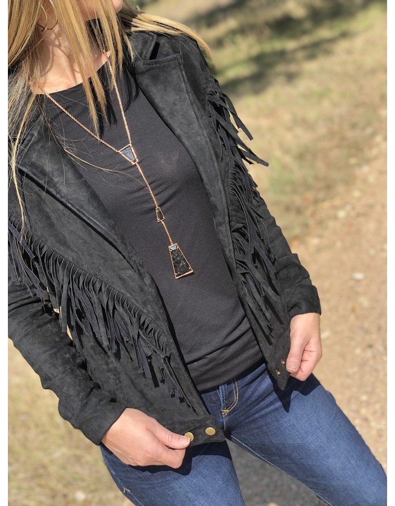 Faux Suede Fringe Jacket in Black