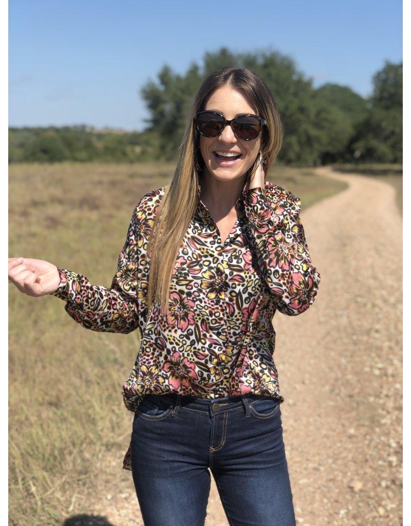 Retro Abstract Floral Long Sleeve Shirt