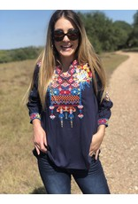 Navy Floral Embroidered Top