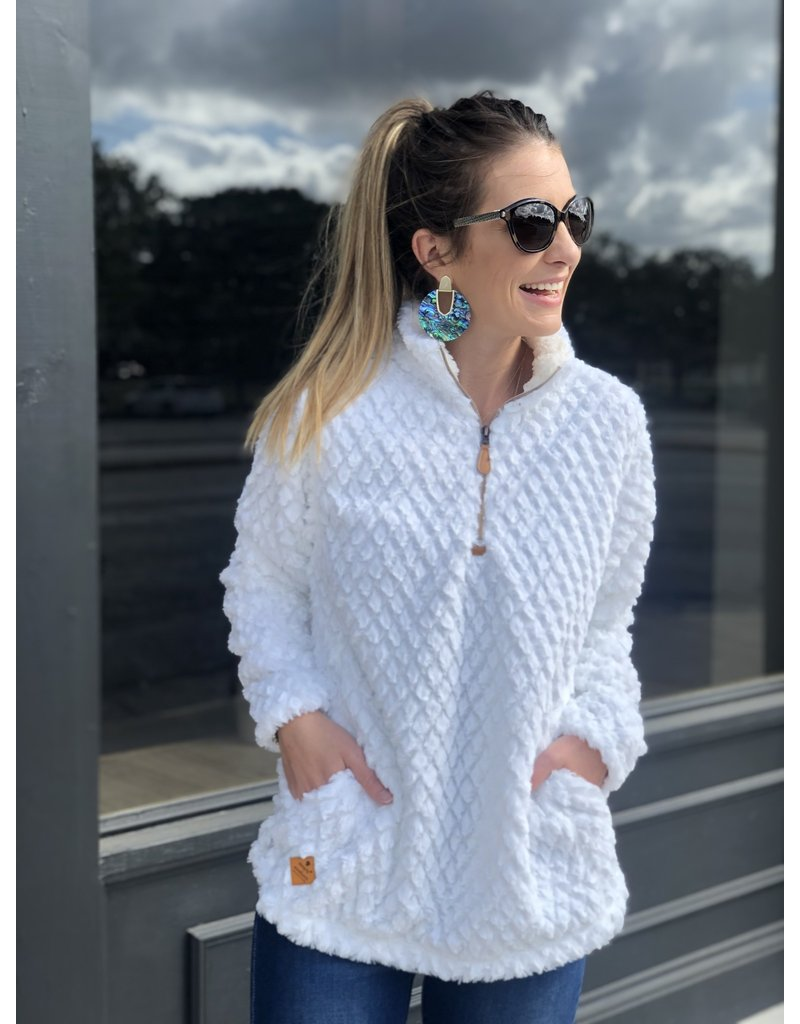 Fuzzy White Sherpa Pullover