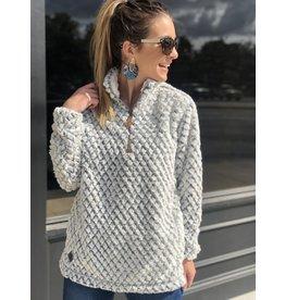 Fuzzy Heather Grey Sherpa Pullover