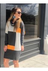 Marble Orange Color Block Dress