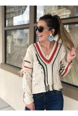 Natural V-Neck Green & Red Stripe Distressed Sweater
