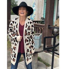 Cream Leopard Cardigan