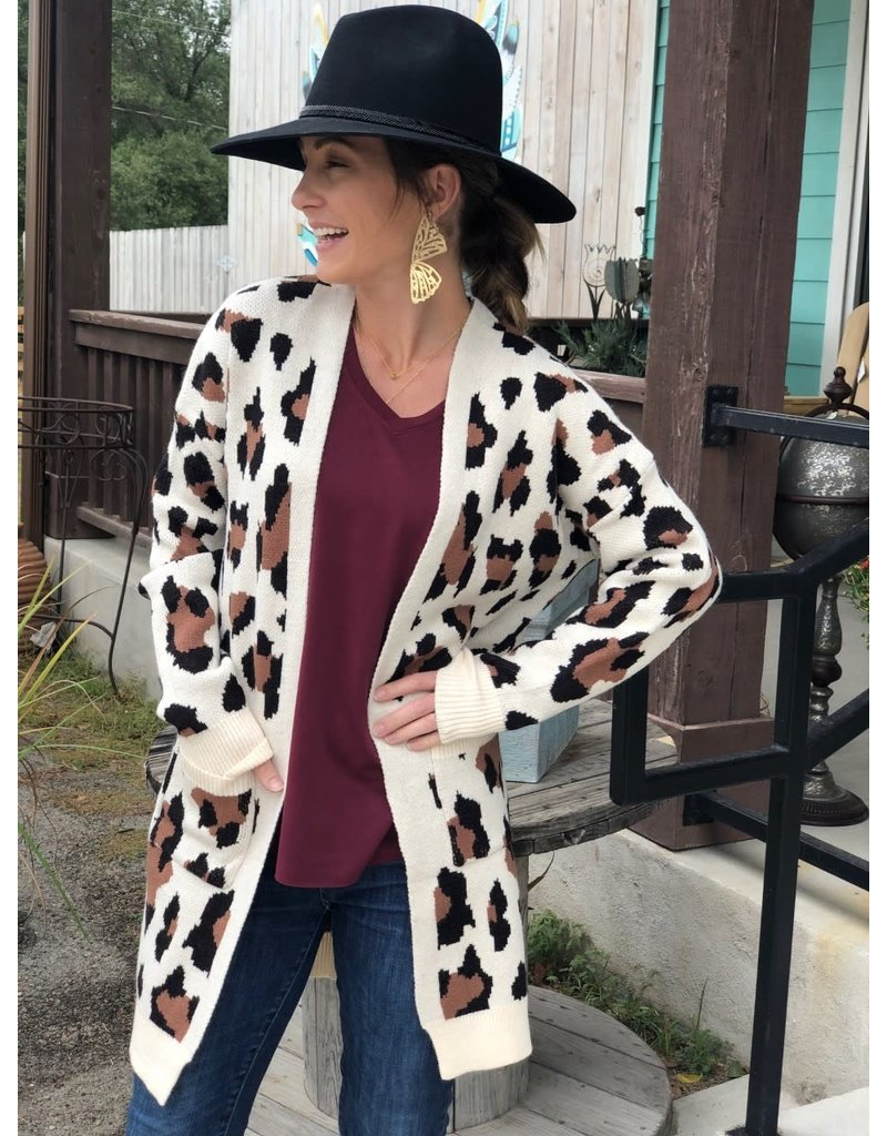 Cream Leopard Cardigan