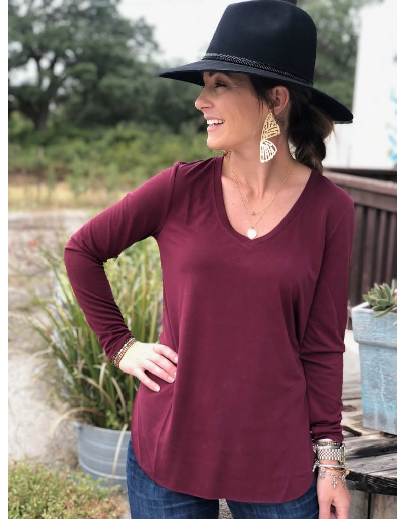 Another Love L/S HighLow V-Neck Tee Burgundy