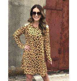 SS Leopard Dress w/Sequin Shoulder