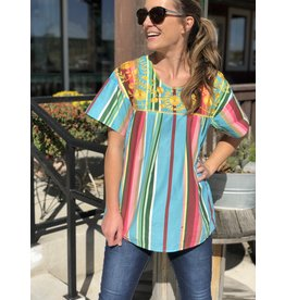 Turquoise Embroidered Serape Top