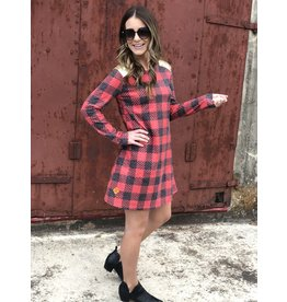 SS Red/Black Buffalo Check w/ Sequin Shoulder