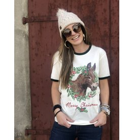 Merry Christmas Donkey Wreath Tee cream