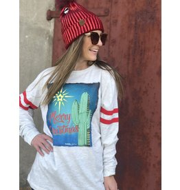 """Cactus """"Merry Christmas"""" Long-Sleeve with Two Stripes Tee"""