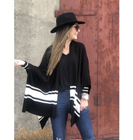 Black w/White Stripe Cardigan Poncho