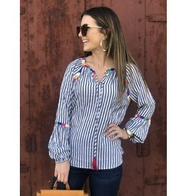 Charcoal Stripe Top w/ Multi Block Embroidered