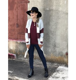 Color Block Cardigan Burgundy Combo