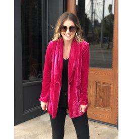 Magenta Pink Velvet Blazer