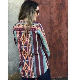 Multi Stripe Embroidered Top