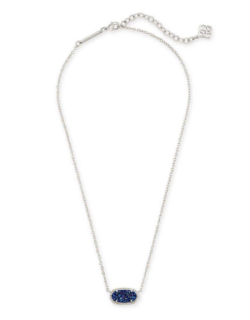 Kendra Scott Elisa Necklace Indigo Blue Drusy on Silver