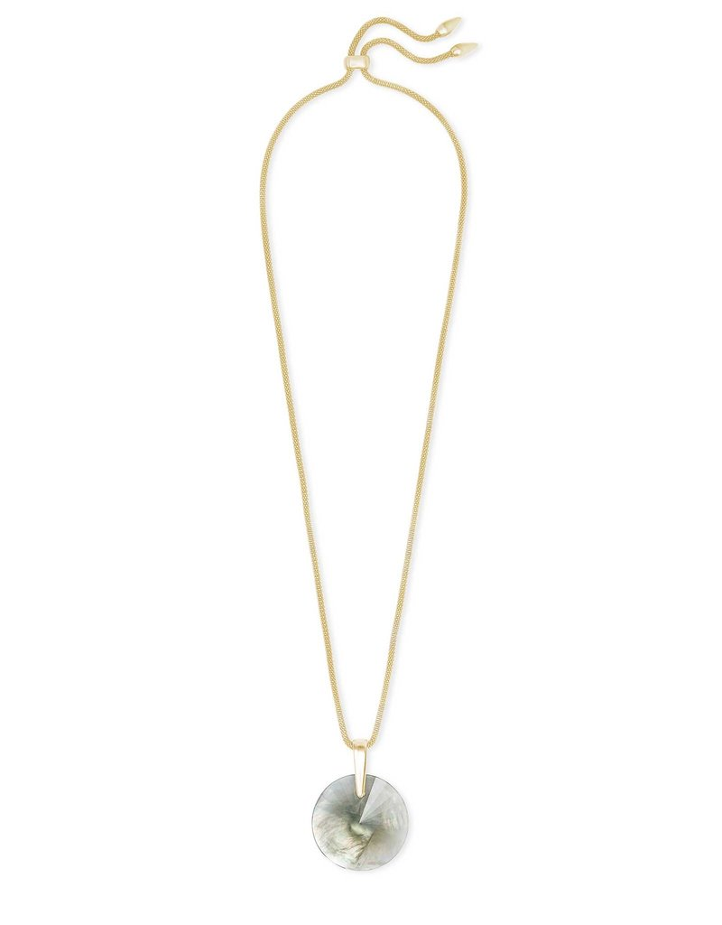 Kendra Scott Jolie Long Pendant Necklace Gray Illusion on Gold
