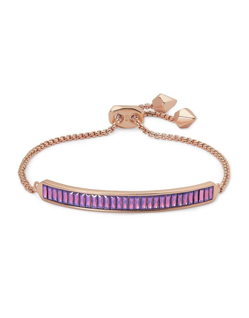 Kendra Scott Jack Delicate Chain Bracelet Pink Crystal on Rose Gold