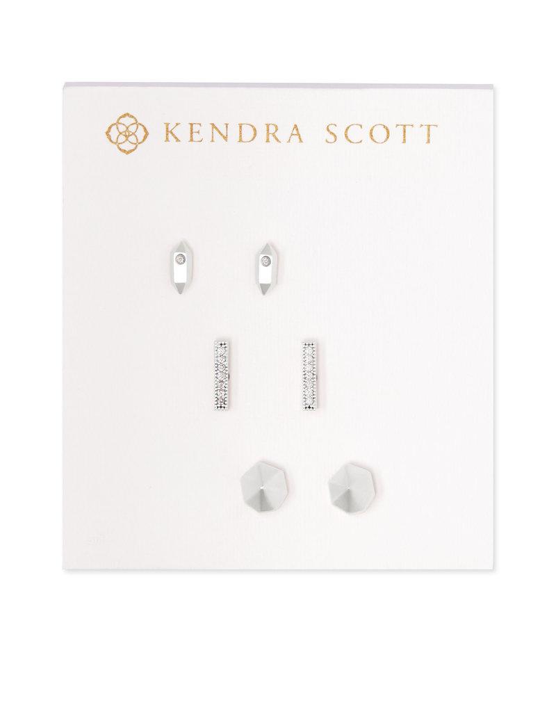 Kendra Scott Austin Stud Earrings in Silver - set of 3