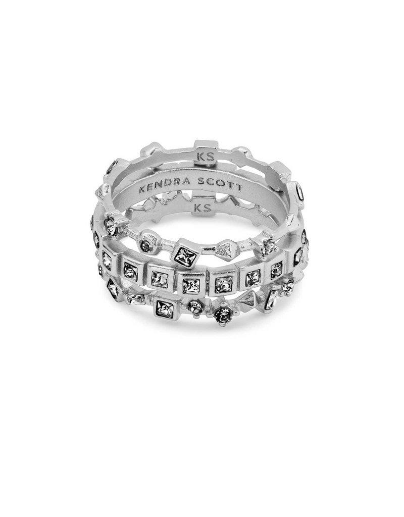 Kendra Scott Karis Rings Gray Crystal on Silver - 6