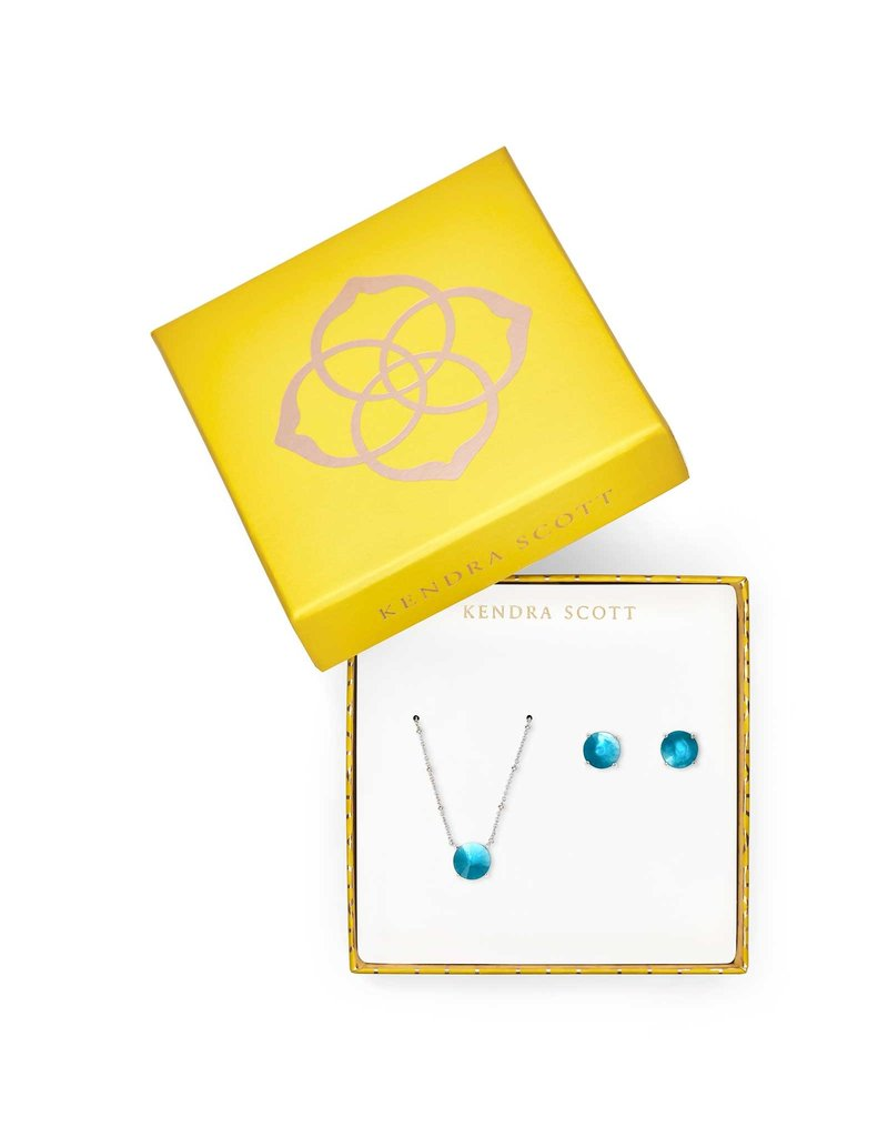 Kendra Scott Silver Jolie Earring & Necklace Peacock Illusion Gift Set
