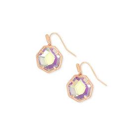 Kendra Scott Rose Gold Cynthia Earrings in Dichroic Glass