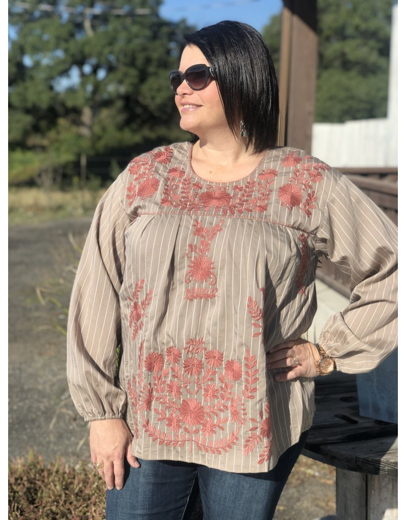 Tan w/ Mauve Embroidered Bell Sleeve Top
