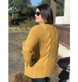 Cable Knit Cardigan in Mustard