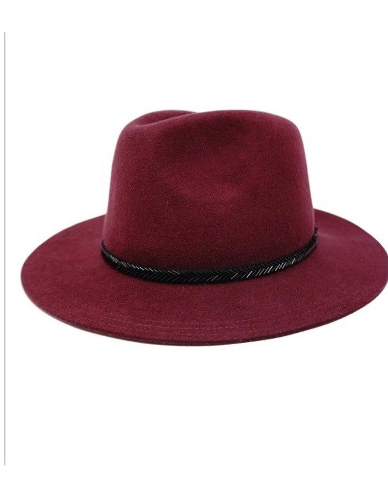 Maroon Fedora Wool Hat w/black Vband