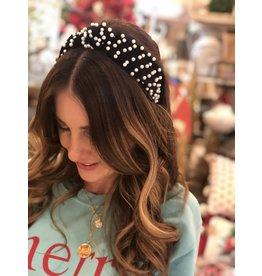 Black Velvet Pearl Headband