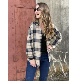 Camel/Black Plaid LS Flannel Shirt