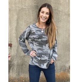 Gray Camo Sweater w/Silver Stitching