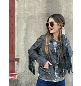 Leather Jacket Vintage Black w/Fringe