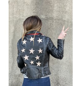 Vintage Black Leather Jacket with Star Detail