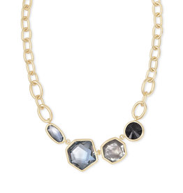 Kendra Scott Natalia Statement Necklace Steel Gray Mix in Gold