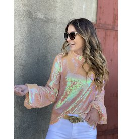Pink Sequin Tucked Sleeve Top