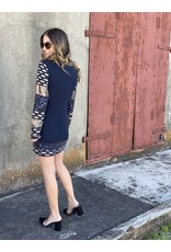 Black & Navy Fitted Sequin Mini Dress