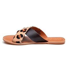 Pebble Leopard Cowhair/Brown Slide