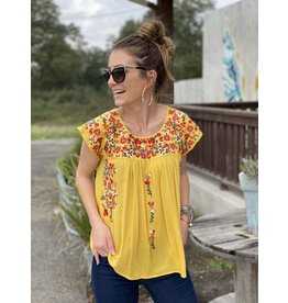 Lemon Cap Sleeve Embroidered Top