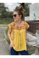 Lemon Cap Sleeve Embroidered Top