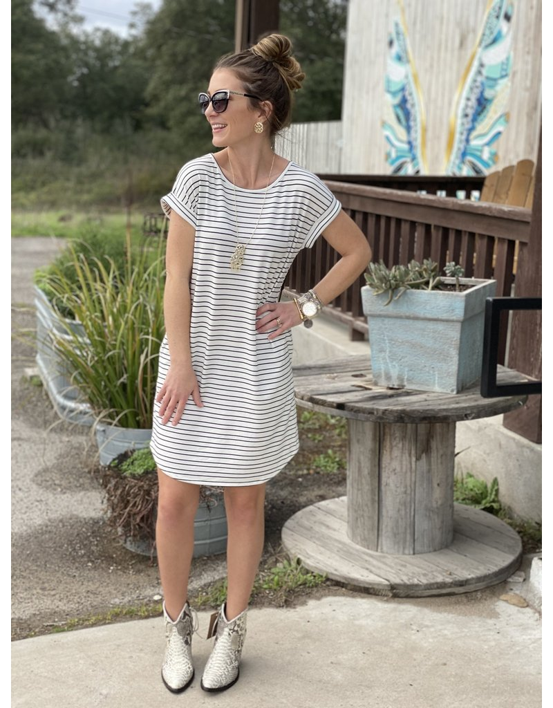 Ivory & Navy Striped Dress