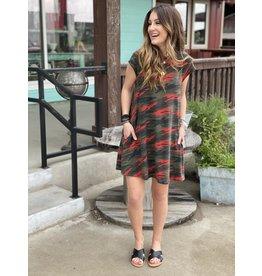 Olive/Red Camo Dress