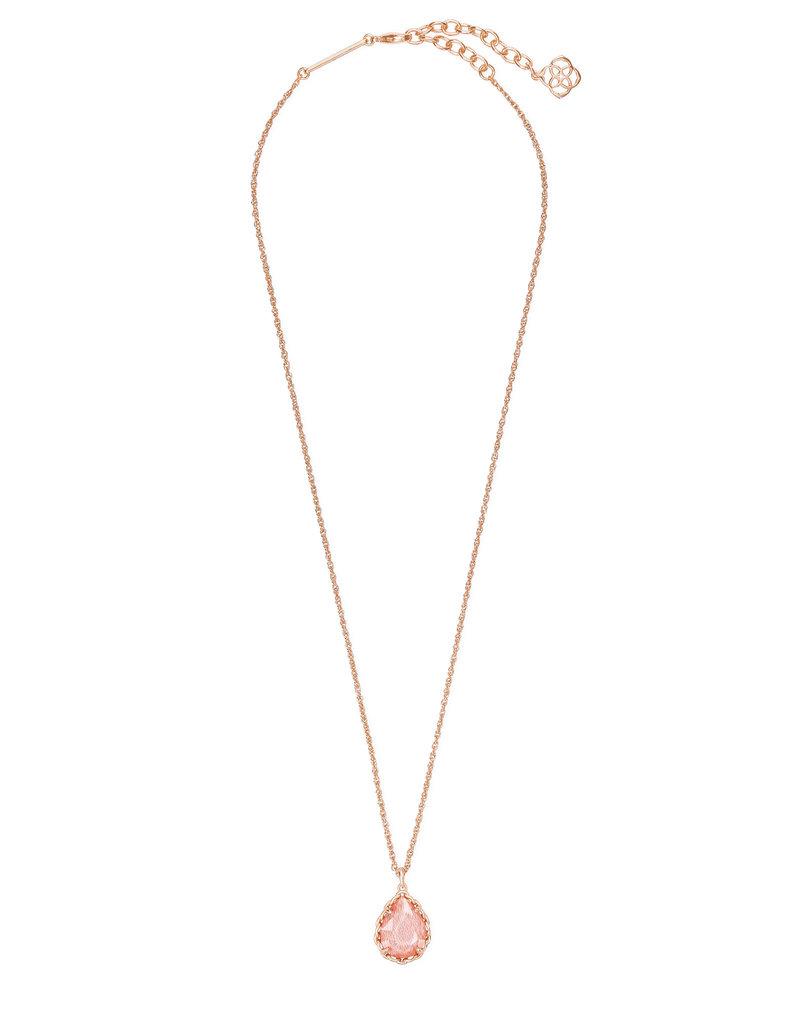 Kendra Scott Macrame Dee Short Pendant Necklace Blush Wood on Rose Gold