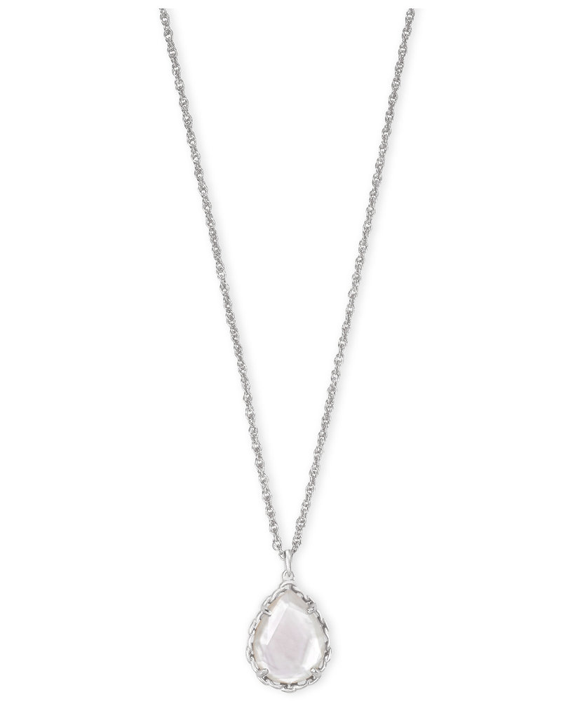 Kendra Scott Macrame Dee Short Pendant Necklace Ivory MOP on Silver