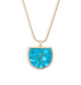 Kendra Scott Luna Pendant Necklace Bronze Veined Turq on Gold