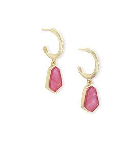 Kendra Scott Clove Huggie Earring Pink Azalea Illusion on Gold