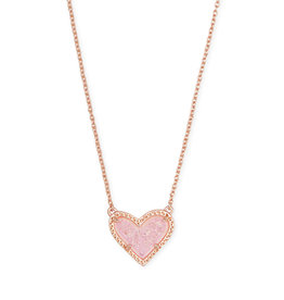 Kendra Scott Ari Heart Short Necklace Pink Drusy on Rose Gold