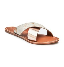 Pebble Gold Cowhide Gold Metallic Slide