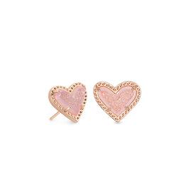 Kendra Scott Ari Heart Stud Earring Pink Drusy on Rose Gold